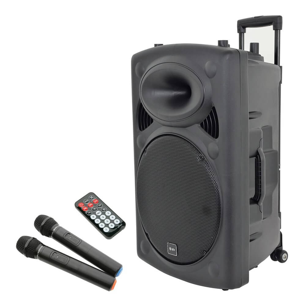 qtx qr15pa portable pa system wireless microphone usb player battery powered. Black Bedroom Furniture Sets. Home Design Ideas