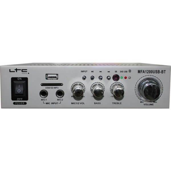 LTC Stereo Karaoke Amplifier Mixer 2 x Mic Input MFA-1200 Bluetooth