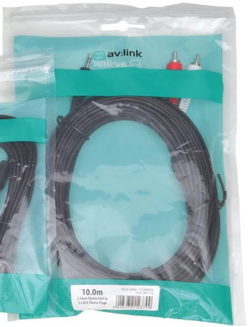 av:link 3.5mm Stereo Plug to 2 x RCA Plug Leads 112.068