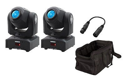 2x Equinox Fusion Spot XP LED Moving Head inc. Carry Bags and Cable