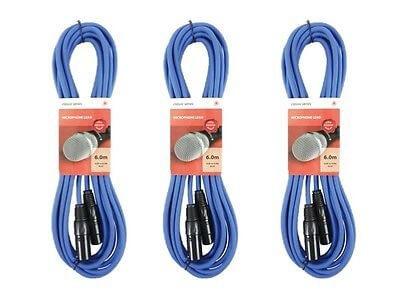 3x Chord XLR Cable (6m Blue)