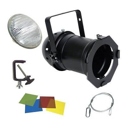 PAR 64 500w Par Can Package inc Lamp, Hook, Clamp & Gel Black
