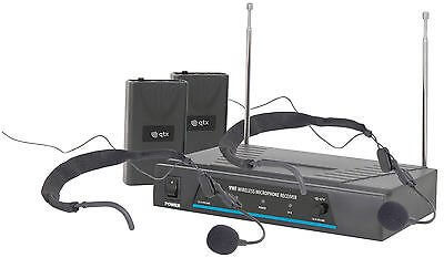 QTX Sound DJ VHF Dual Headset Microphone wireless radio microphone VN2