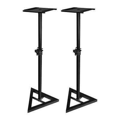 2 x QTX Adjustable Heavy Duty Monitor Stand 180.187 (Black)