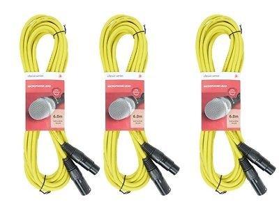 3x Chord XLR Cable (6m Yellow)
