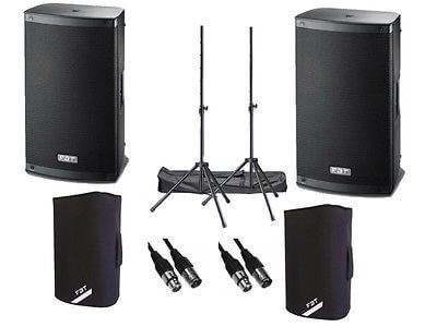 "2x FBT Xlite 1000w 12"" Active Speakers inc. Padded Covers, Stands & Carry Bags and Cables"
