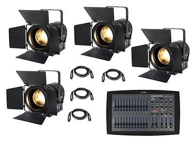 4x eLumen8 LED MP60 Fresnel Stage Spots inc. DMX Controller and Cables