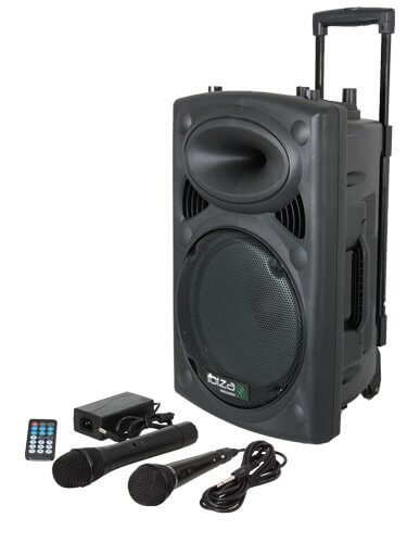 "Ibiza Sound Portable 10"" Battery Powered Bluetooth PA System inc Wireless Mics"