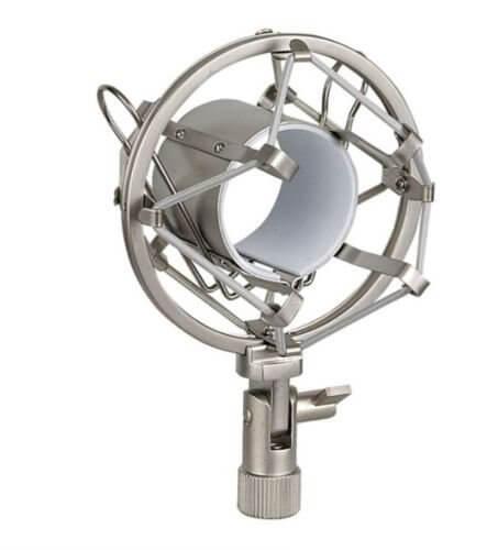 Silver Anti Shock Mount Microphone Cradle Heavy Duty Metal