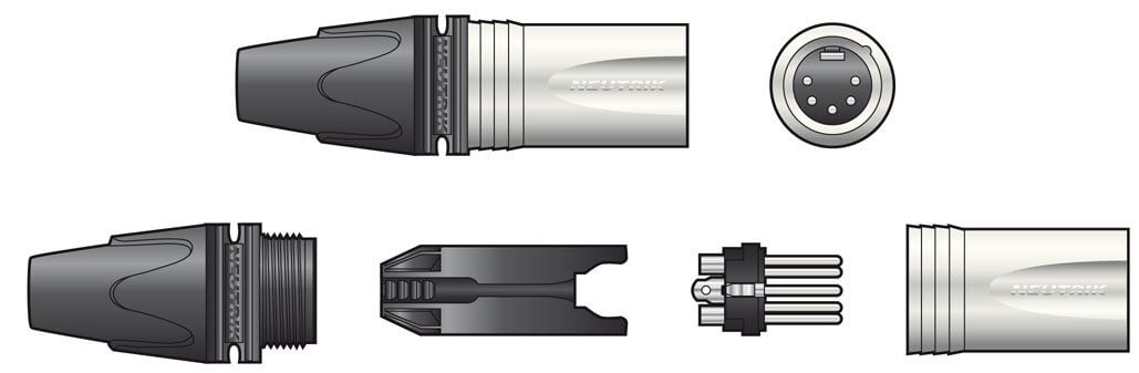 Neutrik XLR 5 Pin Silver Connector Male