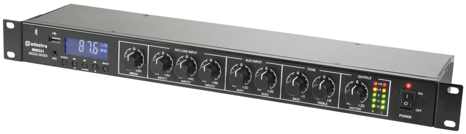 Adastra Rack Mixer with Bluetooth and USB Player
