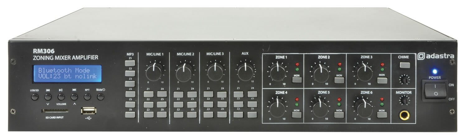 ADASTRA 6 ZONE MIXER AMPLIFIER + USB/SD/FM/BLUETOOTH
