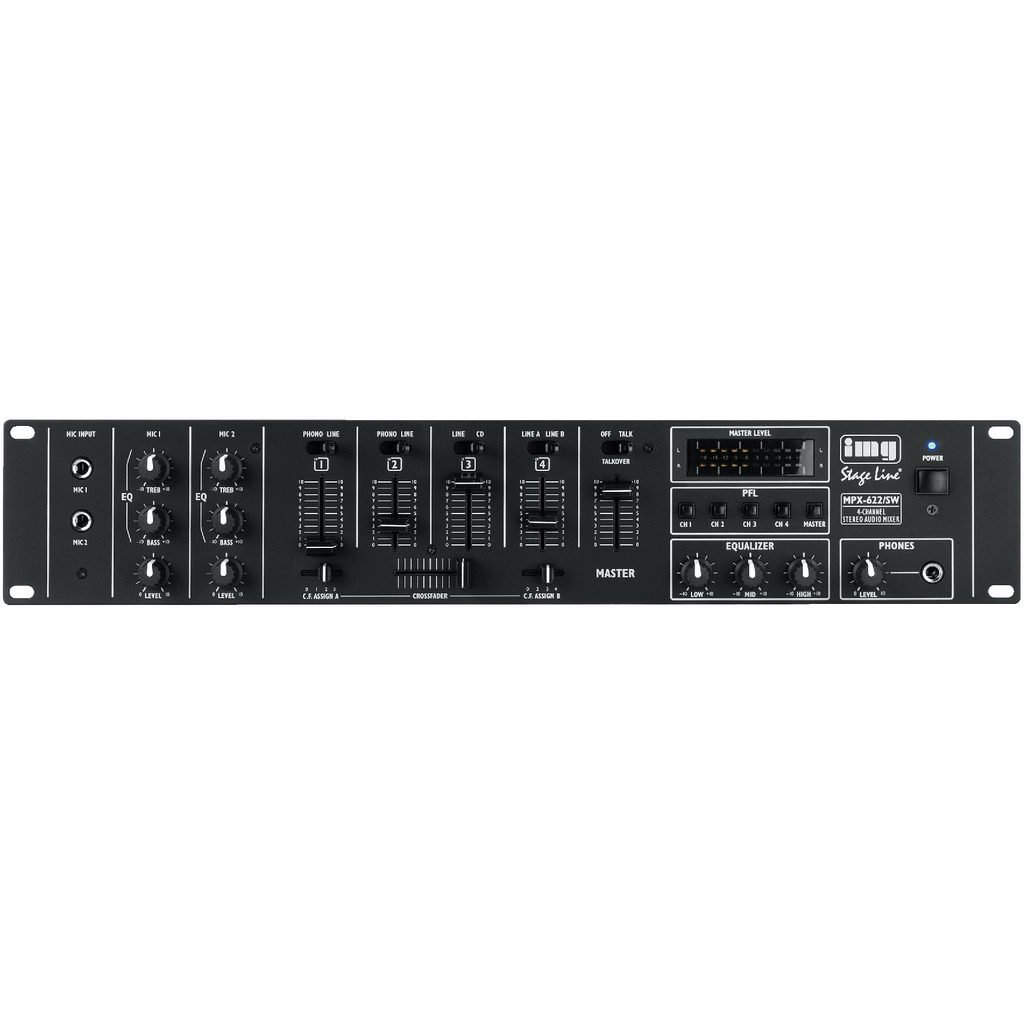 IMG Stageline MPX-622/SW Rack Stereo DJ Mixer