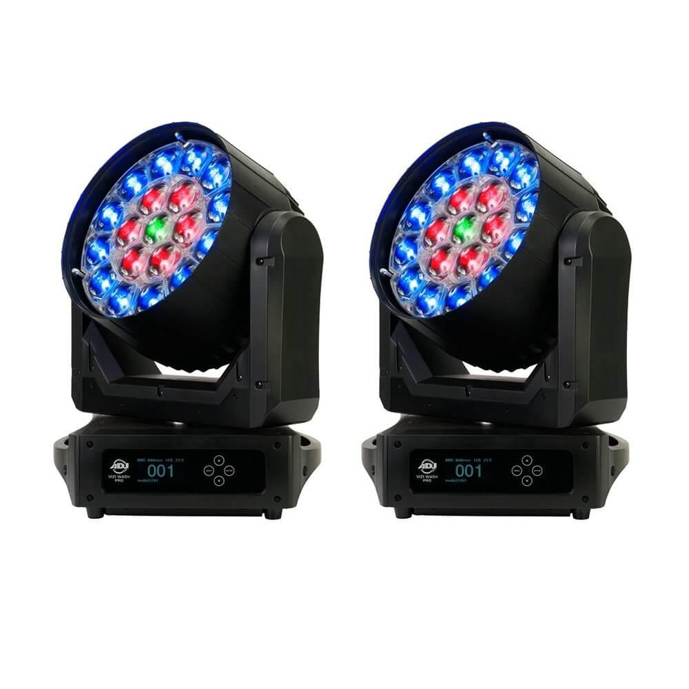 2x ADJ Vizi Wash Pro 570W RGBW LED Moving Head Variable Zoom
