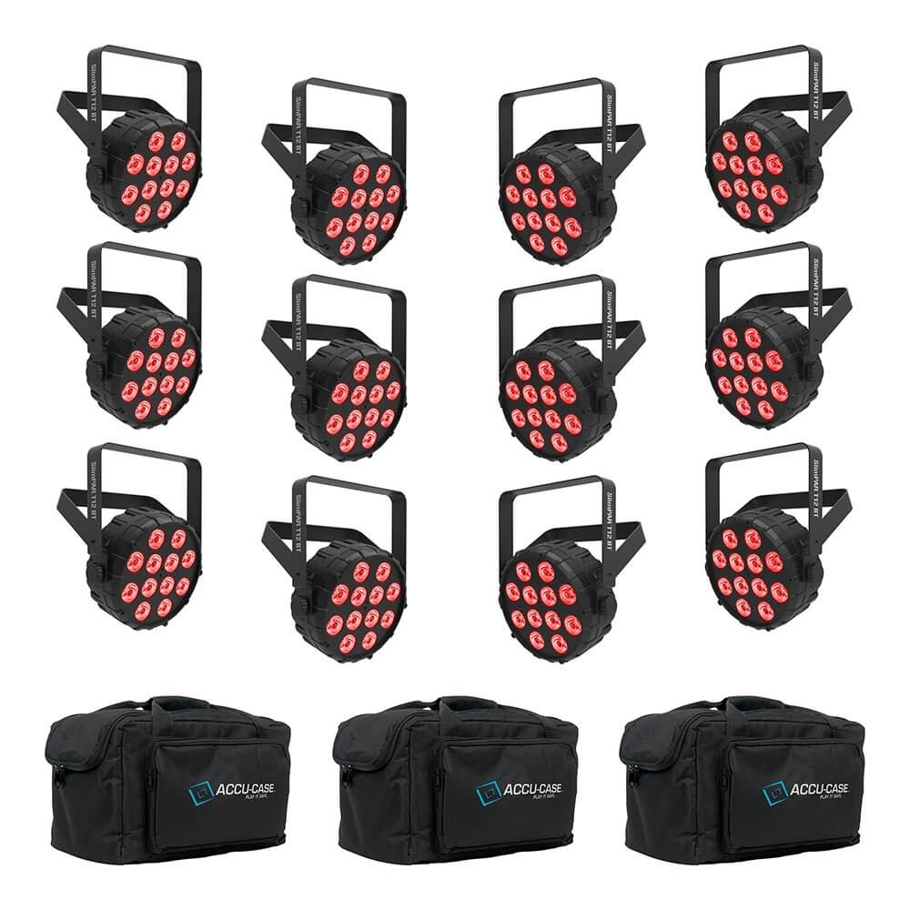 12x Chauvet DJ SlimPAR T12 Bluetooth Wireless LED PAR Can inc. Carry Bags