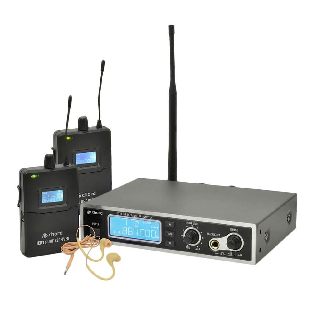 Chord IEM16 V2 In Ear Monitor Foldback System IEM Band 2 x Beltpack Bundle