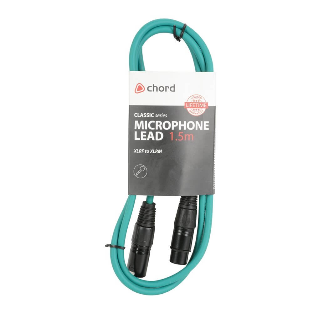 Chord 1.5m Professional High Quality Balanced 3Pin XLR Cable (Green)