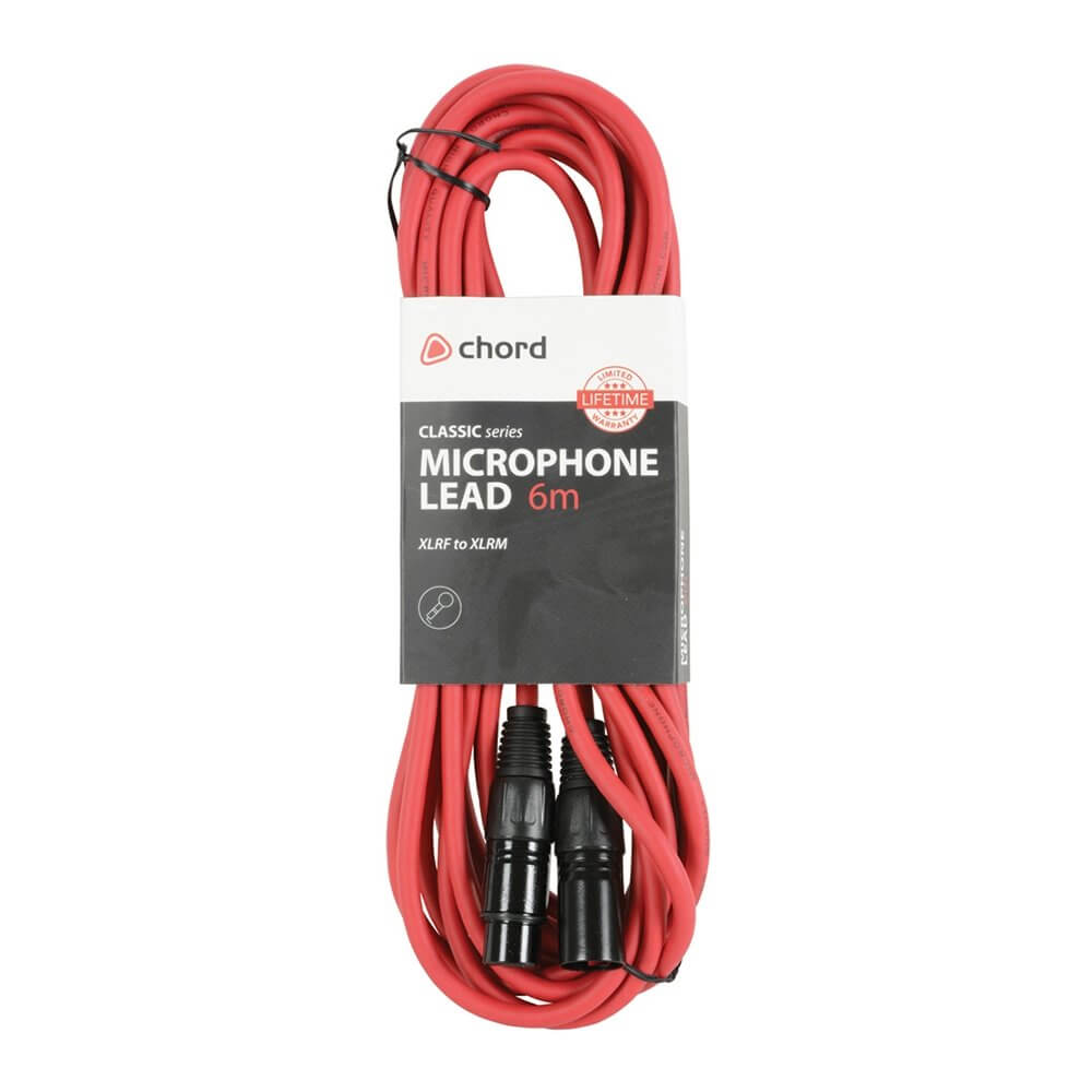 Chord 6m Professional High Quality Balanced 3Pin XLR Cable (Red)