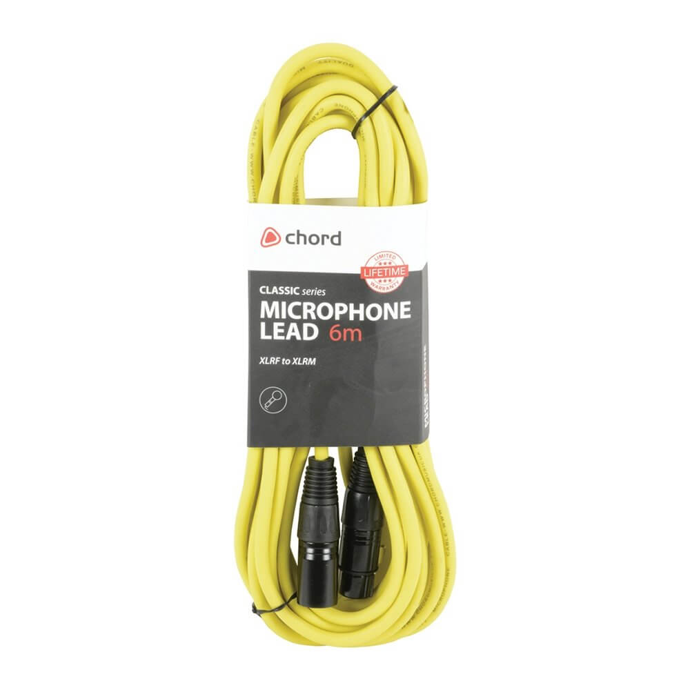 Chord 6m Professional High Quality Balanced 3Pin XLR Cable (Yellow)