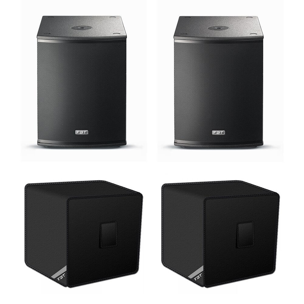 2x FBT X-Sub 15SA Active Subwoofers inc. Covers