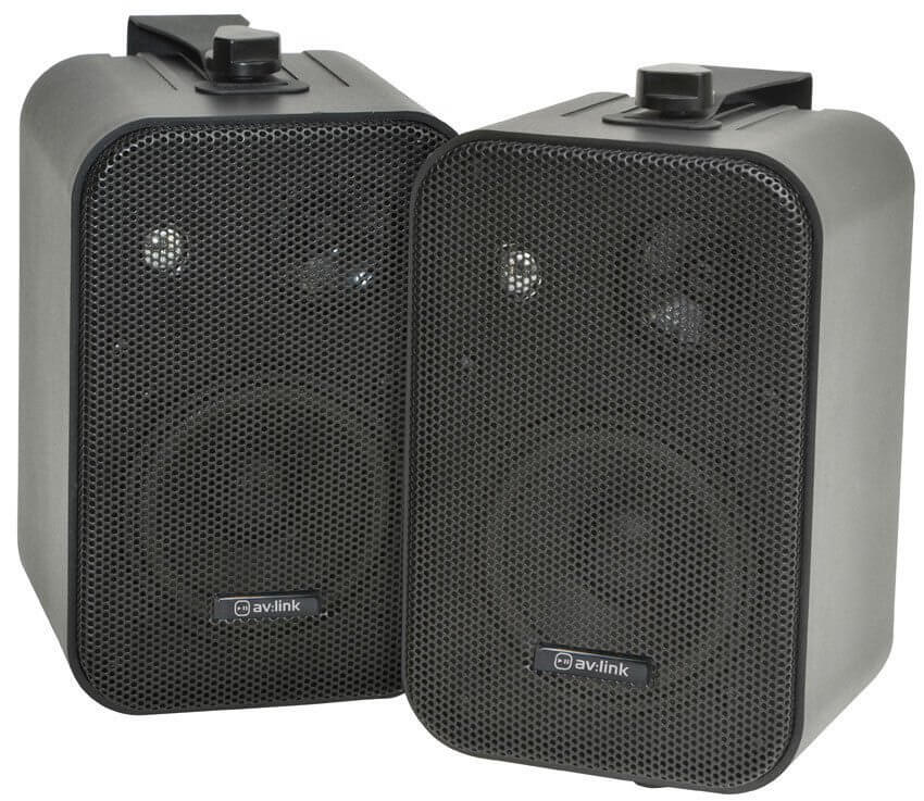 av:link Stereo Background Black Speakers 30W Pair