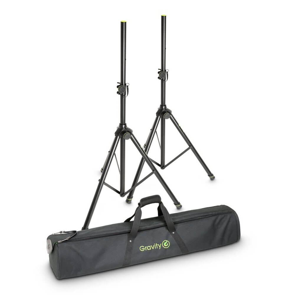 2x Gravity Tripod Speaker Stand Set inc. Transport Bag