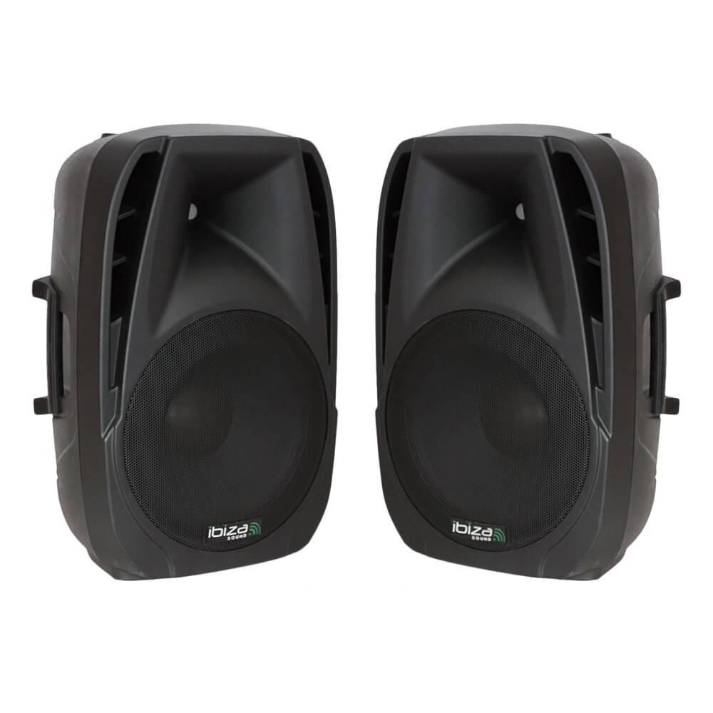 "2x Ibiza BT10A Active Speaker 10"" 500W PA System Bluetooth DJ Disco"