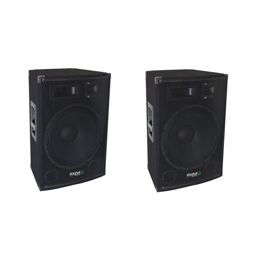 "2x Ibiza Sound 15"" 800W 3-Way Active PA Speakers"