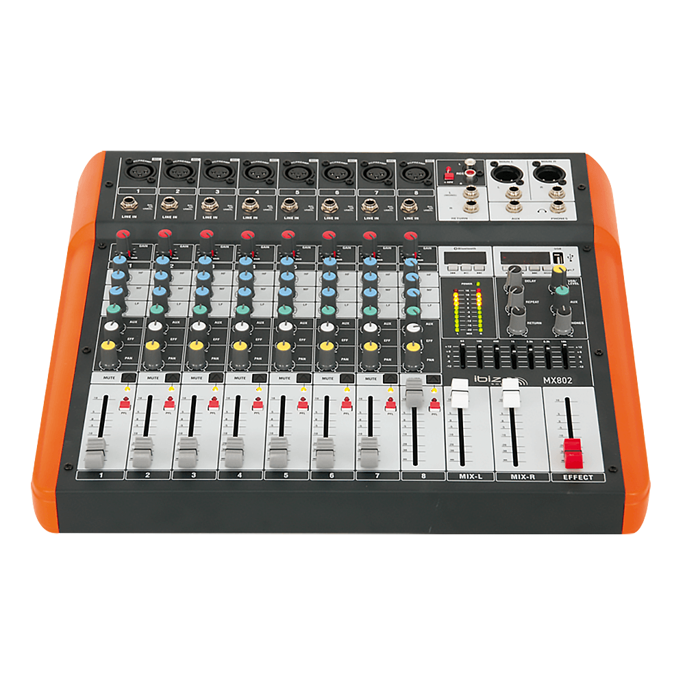 Ibiza Sound MX802 8 Channel Mixer with USB and BT Connectivity