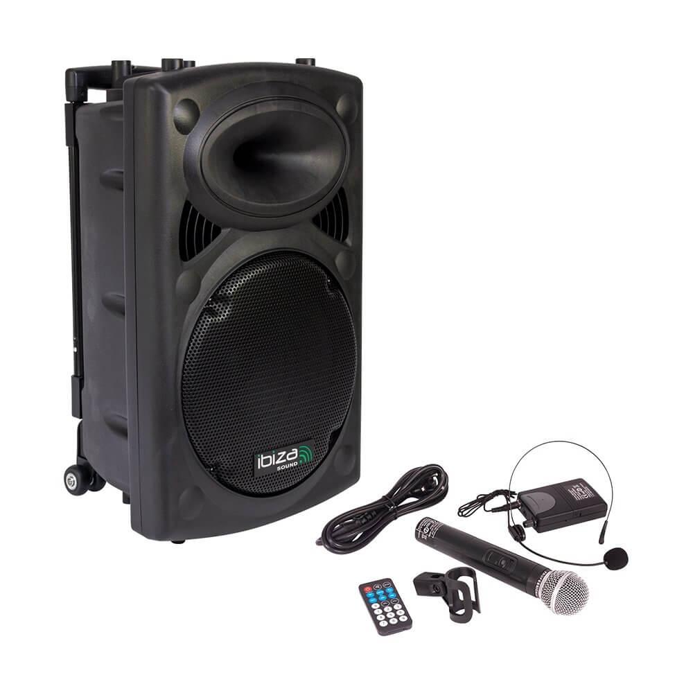Ibiza Sound Portable Battery Powered Bluetooth PA System inc Wireless Mics