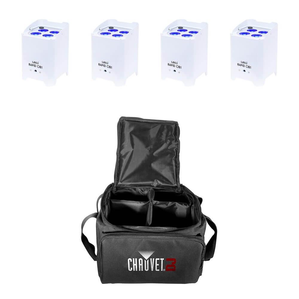 4x LEDJ Rapid QB1 Wireless LED Uplighter (RGBW) in White Housing inc. Carry Bag