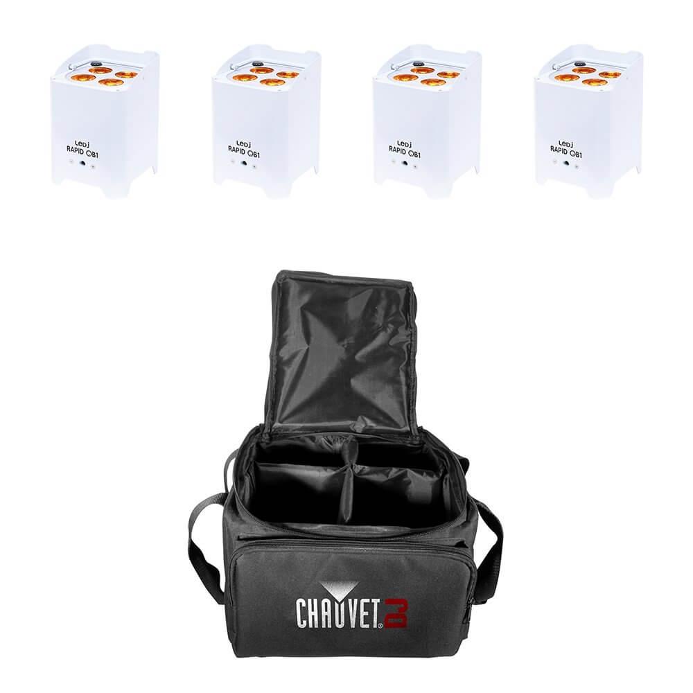 4x LEDJ Rapid QB1 Wireless LED Uplighter (RGBA) in White Housing inc. Carry Bag