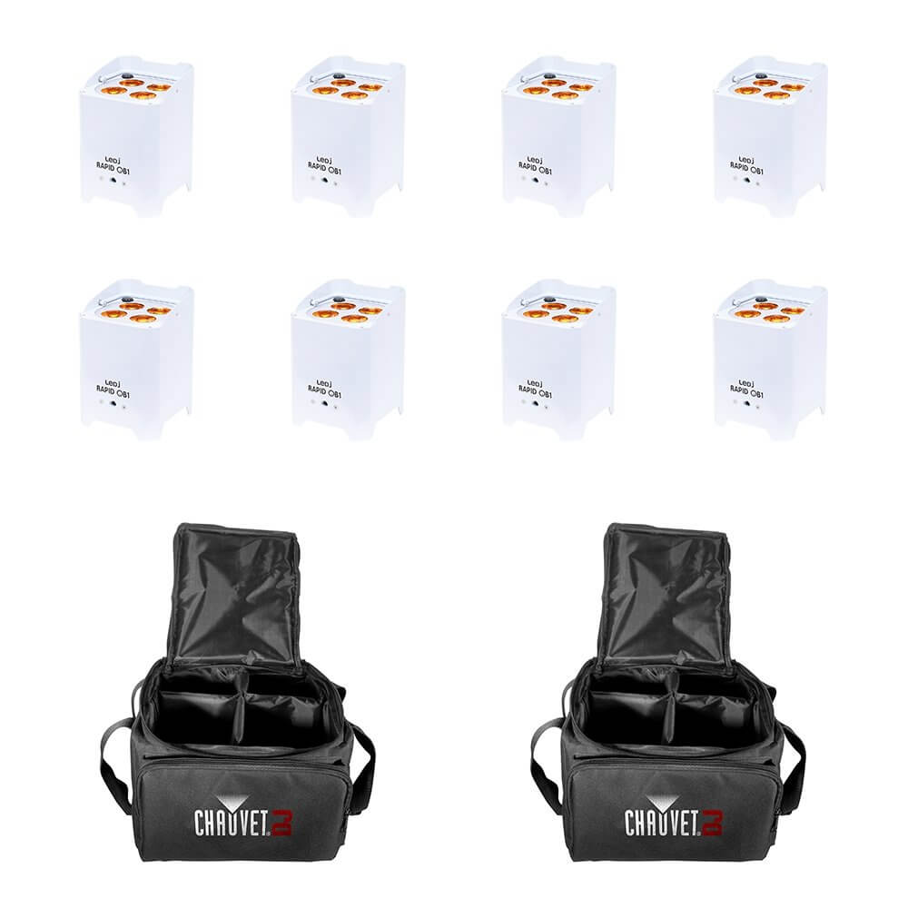 8x LEDJ Rapid QB1 Wireless LED Uplighter (RGBA) in White Housing inc. Carry Bags