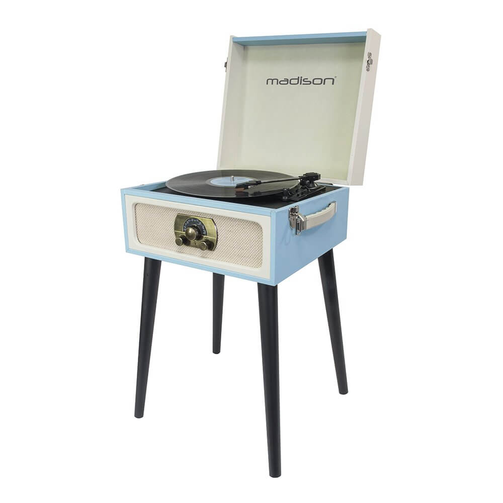 Madison Turntable Record Player Built in Speaker Retro Case on 4 Legs HIFI Sound System