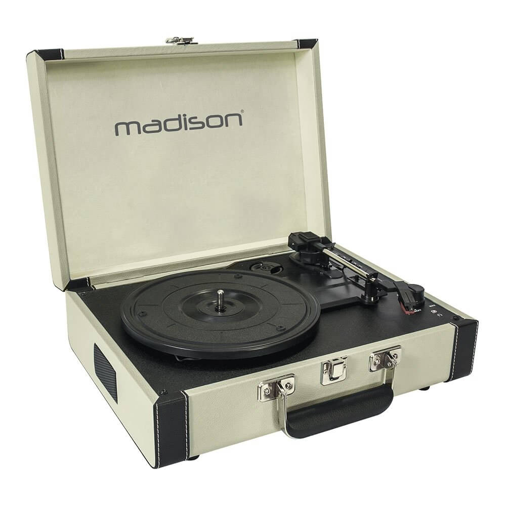 Madison Beltdrive Active Turntable in a Vintage Case (Cream)