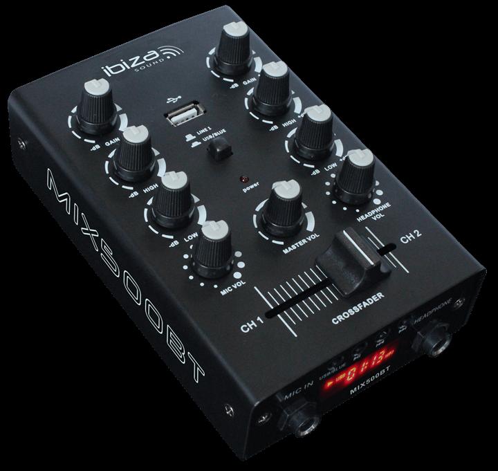 Ibiza MIX500BT 2ch DJ Mixer USB Bluetooth