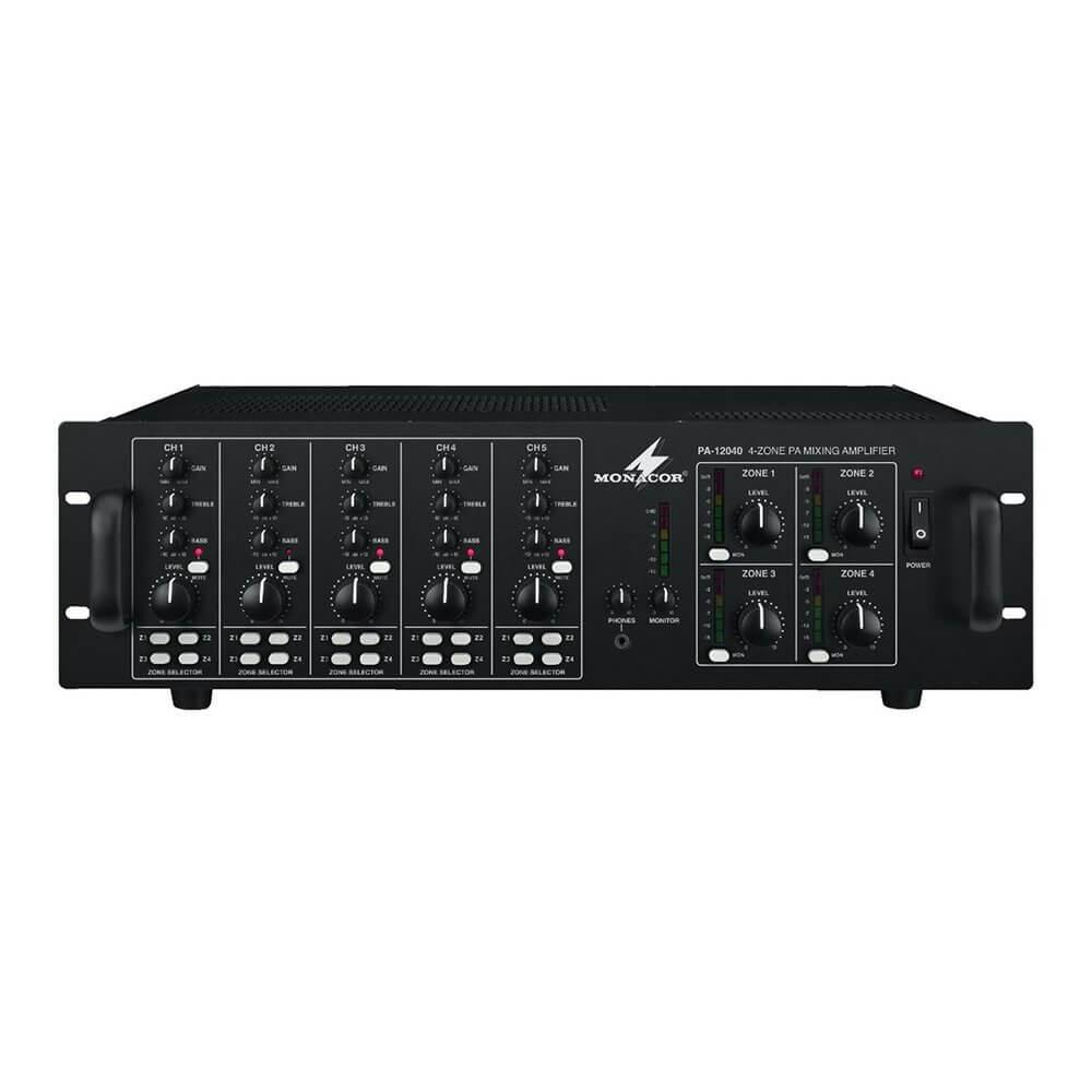 Monacor PA-12040 4 Zone Matrix Mixing PA Amplifier Mixer Sound System