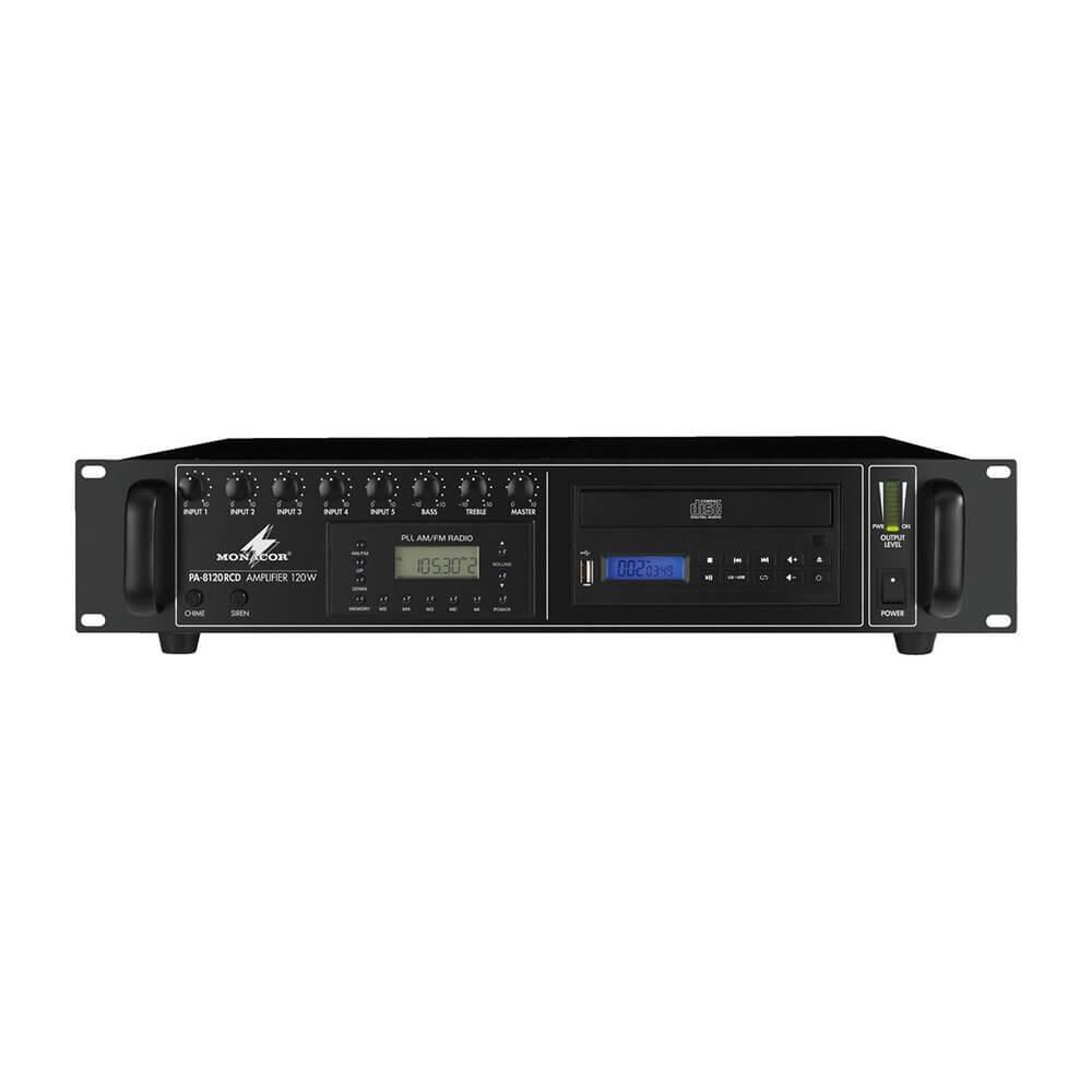 Monacor PA-8120RCD 120W 100V 4Ω/8Ω/16Ω Amplifier CD/MP3/Radio