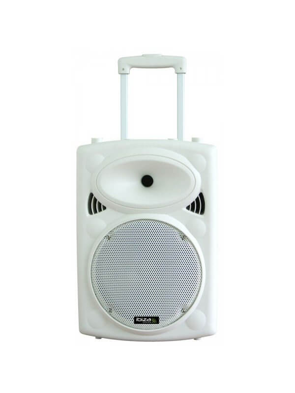 Ibiza Sound White Portable Battery Powered Bluetooth PA System inc Wireless Mics