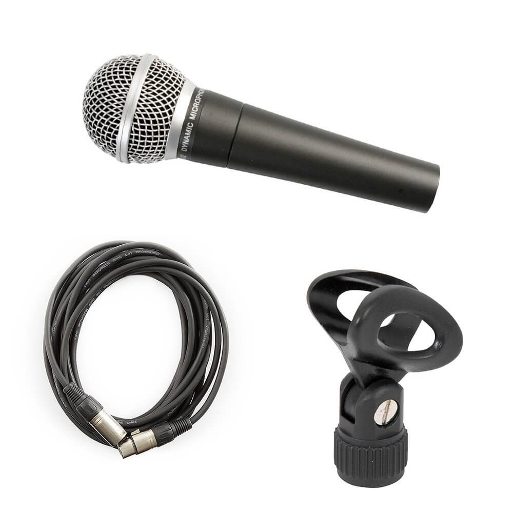 Pulse PM580 Dynamic Vocal Microphone inc. XLR Cable and Mic Clip