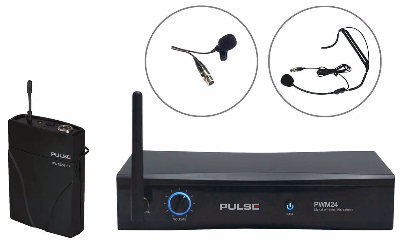 PULSE  PWM24-LAV-HSM  2.4GHz Wireless Beltpack Microphone System With Headset + Lavalier (Tie-Clip)