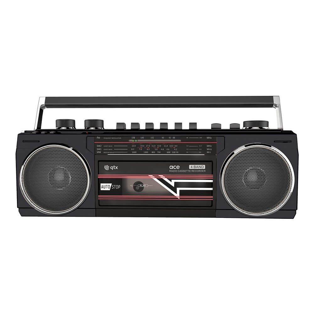 QTX Ace: Retro Radio Casette Player with Bluetooth, SD and USB (Black)