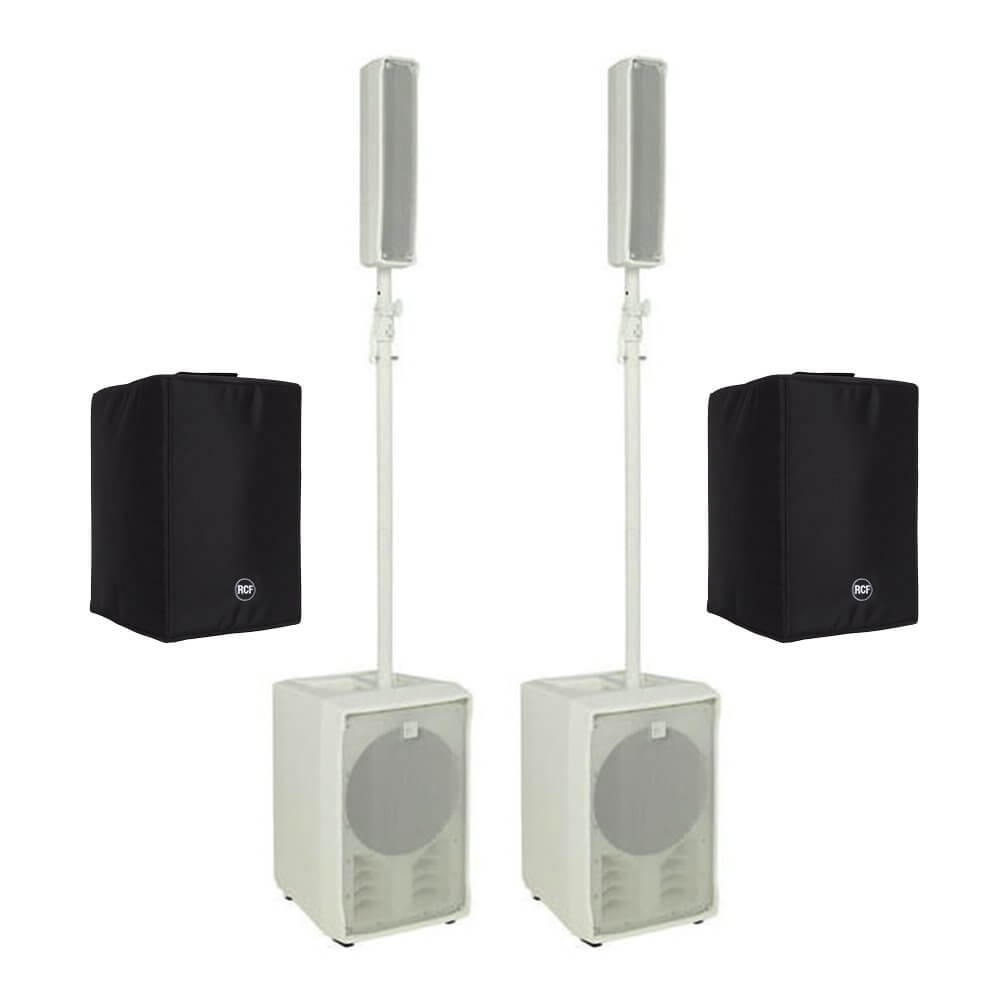 2x RCF J8 White Active Speaker System Column Array 1400W inc  Covers