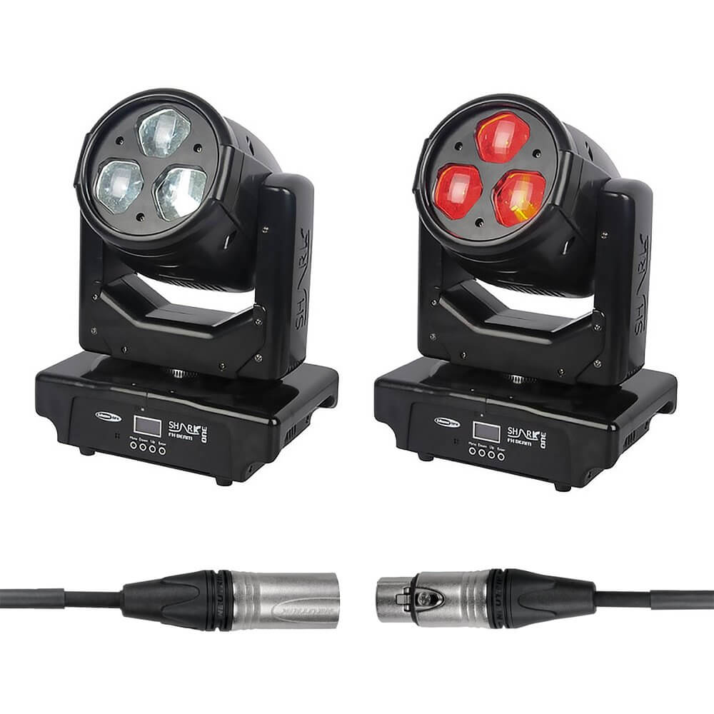 2x Showtec Shark Beam FX One Moving Head Light inc. DMX Cable