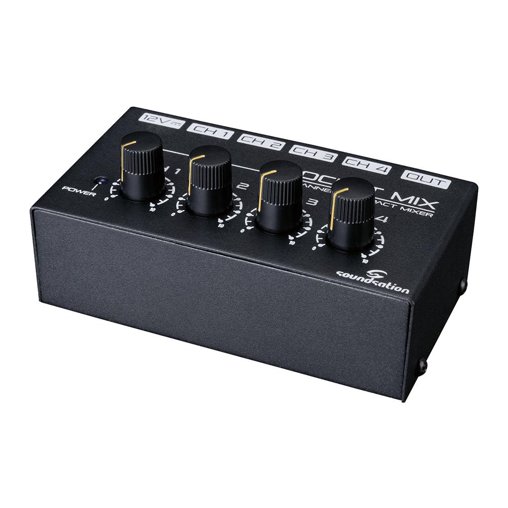 Soundsation Pocket-Mix Mini Mixer 4 Channel Microphone Line Mixer