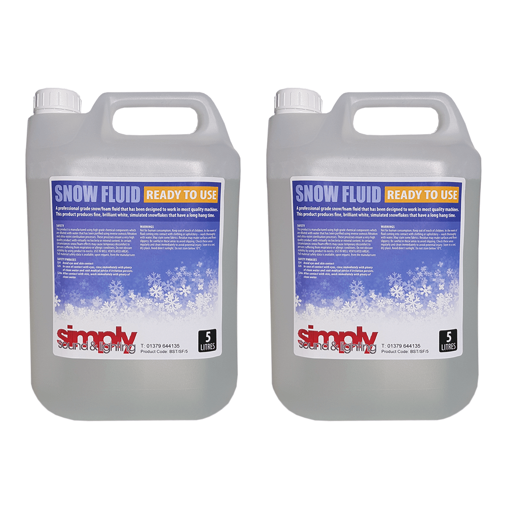 2x Simply Sound & Lighting High Quality Snow Fluid (5L)