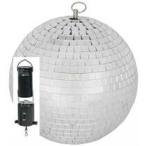 "8"" 20cm 200mm Silver Mirrorball + Battery Rotating Motor"