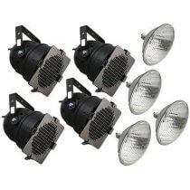 4x 300W BLACK PAR56 INC. LAMPS