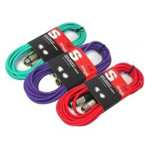 3x Stagg Microphone XLR Cables (6m Mixed Colour)