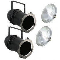 2x PAR64 Long Nose Can inc. Lamps (1000w Black)